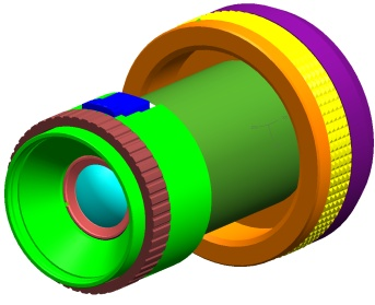example of LINOS solid model of lens & accessories